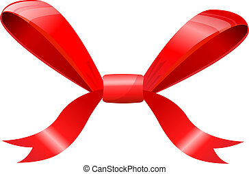 Red bow isolated on white.