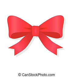 Red Bow Isolated on White. Pussy Bright Bowknot.