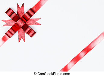Red bow isolated on white with copy space