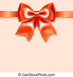 Red bow of silk ribbon, isolated on pink background
