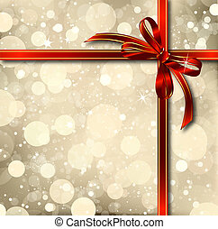 Red bow on a Christmas card. Vector - Red bow on a magical...