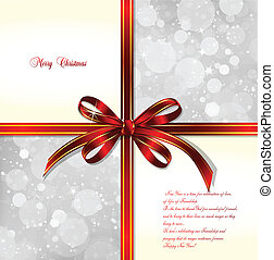 Red bow on a magical Christmas background. Vector illustration