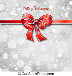 Red bow on a magical Christmas card. Vector