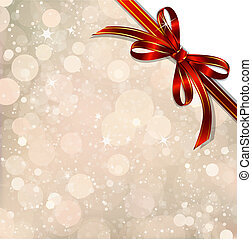 Red bow on a magical Christmas over. Vector