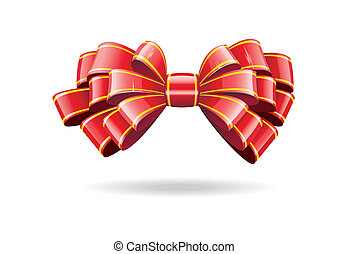 Red bow on a white background. - Bow made of shiny red...