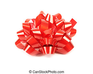 Red bow on a white background.