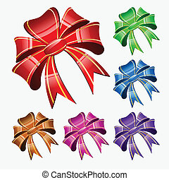 Red bow on a white background set - vector illustration