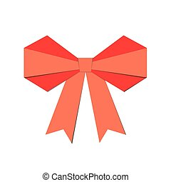 Red bow on a white background. Vector illustration.
