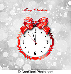 Red bow on clock. Vector christmas card