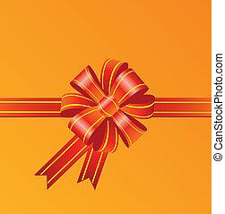 Red bow on orange background
