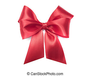 Red bow on white background.