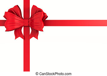 red bow on white background. Isolated 3D illustration
