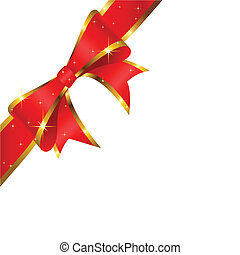 Red bow on white background. Vector.
