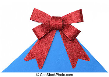 Red bow on white blue background