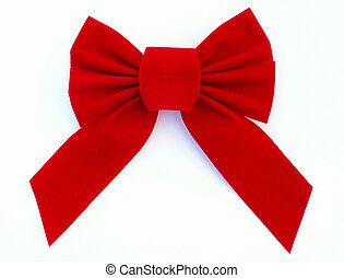 red bow over white background