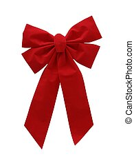 red bow - red christmas ribbon on white background