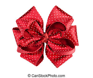 Red  bow - Red dotted silk gift bow isolated on white