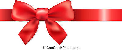 Red Bow - Red Ribbon With Bow, Isolated On White Background...