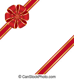 Red bow - Red rosette bow isolated on white background