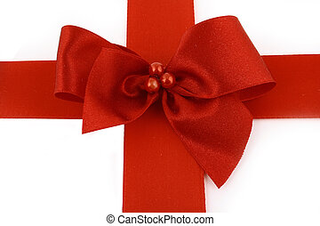 Red bow stripe isolated with clipping path