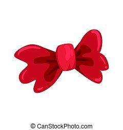 Red bow tie, celebration party symbol cartoon vector Illustration