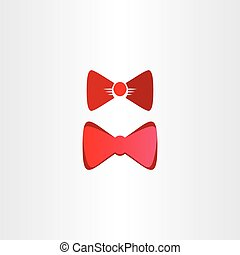 red bow tie vector symbol design elements