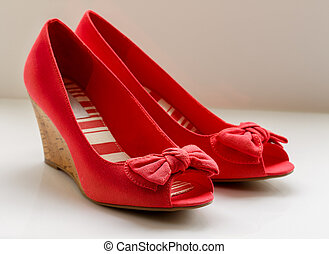 Red Bow Wedges with open toe front