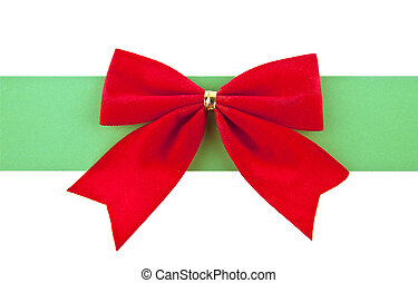 red bow with a green ribbon