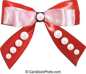 Red bow with a pearl pearls