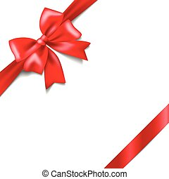 Red bow with a ribbon isolated on white background