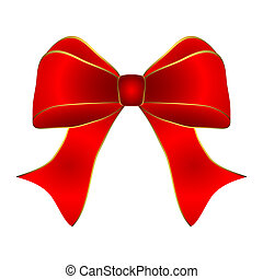 Red bow with gold trim