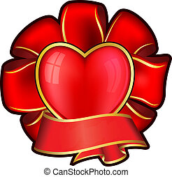 Red bow with heart and ribbon