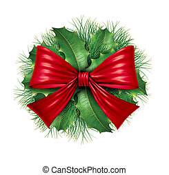Red bow with pine circle decoration
