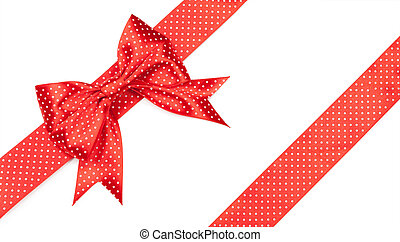 red bow with polka dots isolated on white background