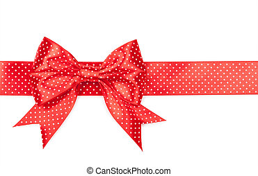 red bow with polka dots isolated on white background.