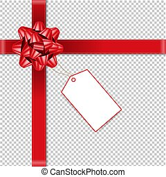 Red Bow With Price Tag Transparent Background