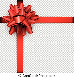 Red bow with ribbon for gift wrap.