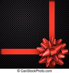 Red bow with ribbon isolated on black.