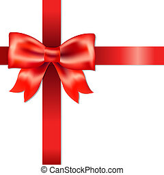 Red Bow With Ribbon With Gradient Mesh, Isolated On White...