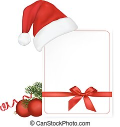 Red bow with ribbons and Santa hat. Vector.