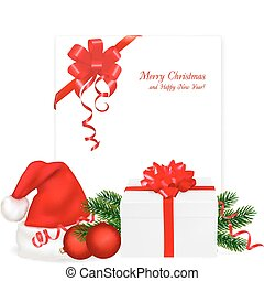 Red bow with ribbons and Santa hats