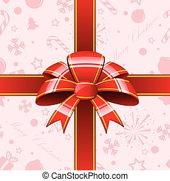 Red bow with ribbons background