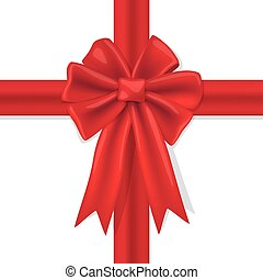 red bow with ribbons on a white background, Vector illustration