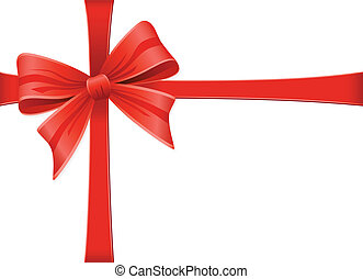 Red Bow With Ribbons. Vector Decoration Collection.