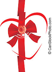 Red bow with rose and strasses