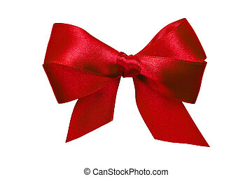 red bow with tails from ribbon isolated on white