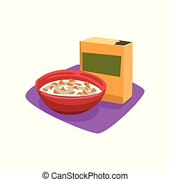 Red bowl full of corn flakes with milk. Breakfast concept. Fast food. Good morning. Cartoon flat vector design for promo placard or banner