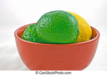 Red Bowl of Limes and Lemon