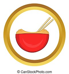 Red bowl of rice with pair icon