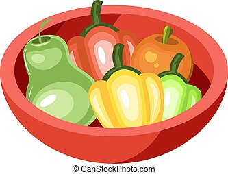 Red Bowl vector color illustration.